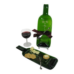EcoFirstArt - Cheese Tray made from a Melted Bottle of Root:1 Cabernet Sauvignon - Wine and cheese go together like bread and butter or bacon and eggs. Serve your favorite cheese on an upcycled, melted wine bottle tray. The tree and roots image on the bottle make it an even greener gift or purchase! This unique Chilean Cabernet green glass bottle makes a festive serving piece or present, with a stylish cheese spreader included.