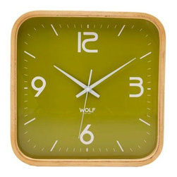"""Wolf Designs - 12"""" Square Wall Clock-Green - Our 12"""" Square Wall Clock proved to the world that wall clocks have not gone out of style. With its fresh, minimal and bold in design, this clock will delight your eyes every time you search for the time. This stark, contemporary design features a 12"""" green dial contrasted with white hands and sans-serif numbering is perfect for viewing from across the room."""