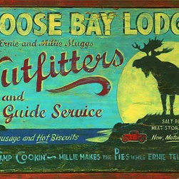 Red Horse Signs - Moose Bay Lodge Vintage Sign - Add  your  name  to  this  rustic  Moose  Bay  Lodge  sign  and  watch  as  friends  and  family  alike  delight  in  its  whimsical  style  that  includes  you!  Customize  in  two  places  -  on  lodge  owner  and  Great  Camp  Cookin'  lines.  Printed  directly  to  distressed  wood  for  a  weathered  look  and  timeworn  appeal.  Measures  14x24  inches.