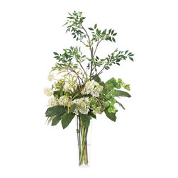 "Silver Nest - Hydrangea Height Centerpiece- 51""h - Green and Cream Hydrangea Centerpiece Plant in Glass Square Vase"