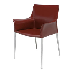 Nuevo Living - Colter Armchair with Steel Legs in Bordeaux Leather by Nuevo - HGAR400 - Comfortable, elegant and classic, this Colter Dining Armchair in Bordeaux is perfect for any decor. It is made with a durable leather upholstery that is sure to last for years to come. Perfect for intimate gatherings or wild evenings, this wonderful furniture is sure to delight and amaze. The Colter dining chair is available in your choice of black, white, dark grey, ochre, and mink colored leather. Enjoy simple pleasure with this furniture piece. Order yours online now!