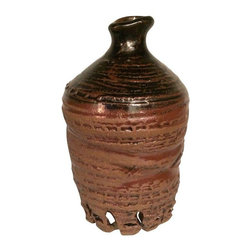 Used Glazed Ceramic Urn - Handmade glazed ceramic urn.  Add texture and interest to a shelf with this brown glazed pot. It looks great on its own, empty or used to display a flower or a green fern leaf! The piece is signed with the maker's mark:  signed '09.