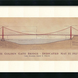 Amanti Art - Craig S. Holmes 'Golden Gate Bridge' Framed Art Print 40 x 17-inch - Dress up your decor with architectural art.  San Francisco's Golden Gate Bridge is the focus of this original architectural drawing by Craig Holmes.