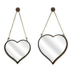 "IMAX CORPORATION - Heart Shape Wall Mirror - Set of 2 - Heart shaped rustic wall mirrors feature a rust colored finish hanging bracket and rope detailing. Set of 2 in various sizes measuring around 23.25""L x 8""W x 23""H each. Shop home furnishings, decor, and accessories from Posh Urban Furnishings. Beautiful, stylish furniture and decor that will brighten your home instantly. Shop modern, traditional, vintage, and world designs."