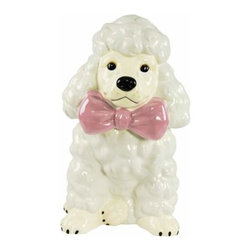WL - 11 Inch White Poodle with Giant Pink Bow Painted Ceramic Cookie Jar - This gorgeous 11 Inch White Poodle with Giant Pink Bow Painted Ceramic Cookie Jar has the finest details and highest quality you will find anywhere! 11 Inch White Poodle with Giant Pink Bow Painted Ceramic Cookie Jar is truly remarkable.