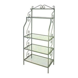 """Grace Manufacturing - 24 Inch French Style Bakers Rack with 4 Wood Shelves, Ivory, 36"""", Bleached - Outside Dimensions: 36"""" wide, 12"""" deep, and 71"""" tall"""