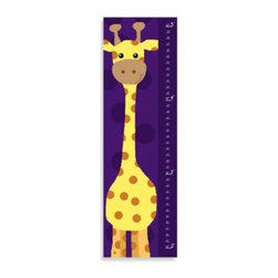 Green Leaf Art - Green Leaf Art Giraffe on Purple Growth Chart - This fun-loving giraffe is a great addition to your child's room. This growth chart features high-quality Giclee print, a unique design and a distinctive purple color pattern.