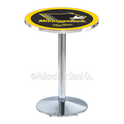 Holland Bar Stool - Holland Bar Stool L214 - Chrome Michigan Tech Pub Table - L214 - Chrome Michigan Tech Pub Table belongs to College Collection by Holland Bar Stool Made for the ultimate sports fan, impress your buddies with this knockout from Holland Bar Stool. This L214 Michigan Tech table with round base provides a commercial quality piece to for your Man Cave. You can't find a higher quality logo table on the market. The plating grade steel used to build the frame ensures it will withstand the abuse of the rowdiest of friends for years to come. The structure is triple chrome plated to ensure a rich, sleek, long lasting finish. If you're finishing your bar or game room, do it right with a table from Holland Bar Stool. Pub Table (1)