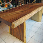 "Natural Edge Dining Table or Office Desk, 32"" x 6'-7"" x 31"" tall, 3.75"" thick - A great looking dining table or office desk made of reclaimed natural / live edge monkeypod wood with a clear satin urethane finish.  Nice thick piece of wood!"