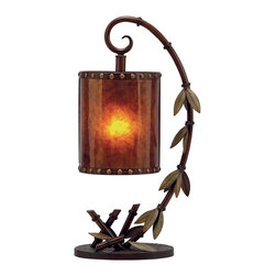Coastal/Tropical Style - Upscale Accent Lamp Made from Metal - Light Hangs From Metal Curved Branch of Bamboo with Metal Bamboo Leaves Rising from Oval Base - Real Work of Art Made Even Finer When Lamp is Turned On