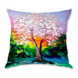 DiaNoche Designs - Pillow Woven Poplin from DiaNoche Designs by AjabyAnn Story of the Tree L - Toss this decorative pillow on any bed, sofa or chair, and add personality to your chic and stylish decor. Lay your head against your new art and relax! Made of woven Poly-Poplin.  Includes a cushy supportive pillow insert, zipped inside. Dye Sublimation printing adheres the ink to the material for long life and durability. Double Sided Print, Machine Washable, Product may vary slightly from image.