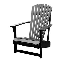 International Concepts - Wood Adirondack Chair - This Adirondack chair is built to last and creates a dramatic statement in the landscape.  Black finish showcases the classic styling that is beautifully detailed in back slatting and sloped seat.  Flat armrests add a level surface for beverages, too. * Reclined seat and wide armrests. Made of solid wood. Polyurethane finish. Minimal assembly required. 28.25 in. W x 34 in. D x 37.5 in. H (21.8 lbs.). Seat height: 13.7 in.. Arm height: 22.9 in.