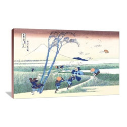 """Artsy Canvas - Wind Buffets Travelers In View Of Mount Fuji 36"""" X 24"""" Gallery Wrapped Canvas - Wind Buffets Travelers in View of Mount Fuji - Katsushika Hokusai (1760 beautifully represented on 36"""" x 24"""" high-quality, gallery wrapped canvas wall art"""