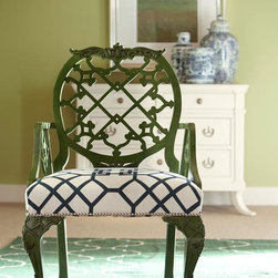 Oscar de la Renta Upholstery Trellis Dining Chair, Jade - These dining chairs are interesting, and they come in so many finishes. We love them in green paired with a graphic print.
