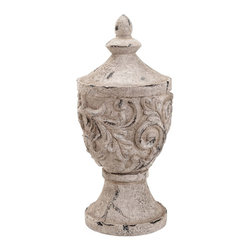 Decorative Fiber Glass Garden Finial - Lend your garden a more attractive appearance with this beautiful Fiber Glass Garden Finial which features a vintage design that can bring character and class to settings. Featuring a decorative appearance, this finial can be incorporated anywhere in your outdoor area to give it a more eye catching appeal. Flaunting intricate detail work, this Fiber Glass Garden Finial adds a more eye catching touch to the overall appeal. The wonderful and distinctive design can complement a range of settings as sports a vintage and worn out look that adds a more interesting touch to the overall appeal. Artistically crafted from quality fiber glass, the finial has a sturdy construction that can endure harsh weather conditions, making it long lasting in use.. It comes with a dimension: