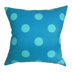 "The Pillow Collection - Rane Polka Dots Pillow Turquoise Blue 20"" x 20"" - Create a playful theme to your interiors by decorating this fun throw pillow. This decor pillow makes a great statement in your sofa, bed or lounge area. Like all the pillows in our collection, this square pillow is comfy and made from 100% high-quality cotton material. This 20"" pillow is great for indoor use and complements well with other decor pieces. It features a striking polka dot pattern in turquoise and set against a blue background. Hidden zipper closure for easy cover removal.  Knife edge finish on all four sides.  Reversible pillow with the same fabric on the back side.  Spot cleaning suggested."