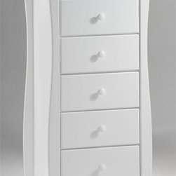 Night & Day Furniture - Storage Chest for Lingerie in White - Button - Romantic lingerie chest promises to upgrade the look and feel of your bedroom while offering maximum storage options. Six drawers open and close seamlessly. White chest keeps the room light and airy. Modern, curved legs add an element of surprise. Made of solid wood. 100% Malaysian Rubberwood construction. Shown in White. 33 in. W x 66 in. D x 20 in. HOur Clove Lingerie Chest is another sweet option for you. Six drawers to hold all your essentials in a trim, stylish unit that fits just about anywhere. Great for a small dressing room. All Spices Bedroom Collection items come with a limited 10 year warranty.