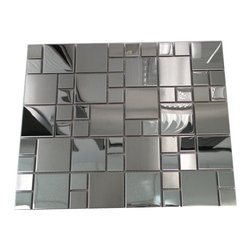 "GL Stone - Square Stainless Steel Mosaic Tile 12""x12"" - These mosaic tiles offer a blend of silver stainless steel that takes kitchen backsplashes or accent walls to new heights of home fashion. Each stainless steel brick features subtle finish variations: mirror polish and brush. Modern style mixed 1""x1"" and 2""x2"" mosaics giving your interior decor an unforgettable update and tons of polished allure.  The tile can be mounted vertically or horizontally so that the individual pieces point either vertically or horizontally depending on what type of effect you want to achieve. This is a perfect choice to any interior decor such as kitchen backsplashes, accent walls, bathroom walls, and bathroom back splashes. The tiles in this sheet are mounted on a nylon mesh which allows for an easy installation."