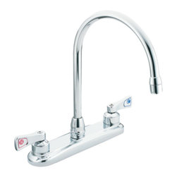 Moen - Moen 8287 M-Dura Two-Handle Kitchen Faucet (Chrome) - The M-Dura series faucets feature a variety of simple and functional faucets for any commercial application.