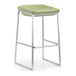 ZUO MODERN - Lids Bar Chair Green (set of 2) - With a smart retro fabric seat and classic stainless steel base, the Lids series are perfect for any modern kitchen or bar.