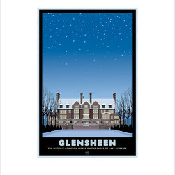 """Numeric Press Ltd - Glensheen Mansion Lakeside, Winter Giclée Print by Mark Herman, 16x20 - Landmark Series, MN """"Glensheen Mansion Lakeside, Winter"""" by Mark Herman.  The Glensheen Mansion is a historic estate on Lake Superior, owned by the University of Minnesota Duluth. Glensheen sits on 7.6 acres of lake front property, has 38 rooms and is built in the Jacobean architectural tradition, inspired by the Beaux-Arts styles of the era. The mansion was constructed as the family home of Chester Adgate Congdon. The building was designed by Minnesota architect Clarence H. Johnston Sr., with interiors designed by William French and the formal terraced garden and English style landscape designed by the Charles Wellford Leavitt firm out of New York. Construction began in 1905, and completed in 1908."""