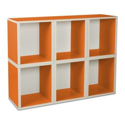 Way Basics Modular 6 Cube Tall Bookcase - Orange - Get fun and funky with the modern style design of the Way Basics Modular 6 Cube Bookcase Orange. Just stack these spacious blocks any way you like to create the perfect storage space for books, magazines, toys, games, or other media. Assembly is no problem; just peel and stick the 3M Brand adhesive strips and assemble. That's right, no tools required. These eco-friendly storage cubes are easy on the planet and are manufactured with durable zBoard recycled paperboard material, making them lightweight, strong, water resistant and best of all, completely recyclable.About Way BasicsWay Basics is an innovator of eco-friendly furniture and has been creating a wide variety of products using recycled materials for their customers to enjoy in the home and office. Their products require no tools to assemble and are designed to add style and function to any space without leaving a heavy footprint on the environment. Way Basics also works with furniture banks and charities around the globe to help those families in need and is a founding member of the Sustainable Furnishings Council, a coalition united to promote environmentally healthy practices in the industry.