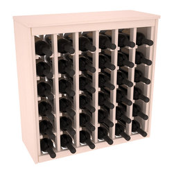 Wine Racks America - 36 Bottle Deluxe in Ponderosa Pine, White Wash Stain + Satin Finish - Great start or addition to wine rack furniture, this wooden wine rack is designed to look like a freestanding wine cabinet. Solid top and side enclosures promote the cool and dark storage area necessary for aging your wine properly. Your satisfaction and our racks are guaranteed.