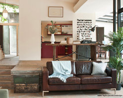 Residential Project - Eclectic Industrial living room with Leather Sofa, Industrial Iron Trunks, Old Door Table, Moroccan Pendant Lamp and Industrial Locker Side Cabinet from Mix Furniture.