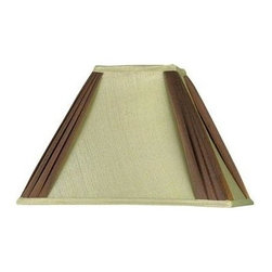 Cal Lighting - Rectangular 2-Tone Corner Pleated Silk & Fabr - Rectangular two tone corner pleated silk & fabric shade. Top: 6 in. x 4 in.. Bottom: 16 in. x 11 in.. Side: 11 in.