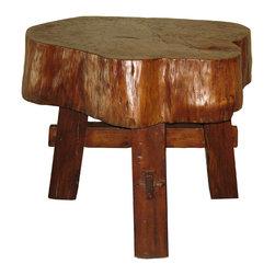 Wood Trunk Side Table - Elm wood trunk side table.
