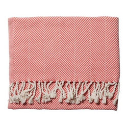 Serena & Lily - Herringbone Throw  Coral - Woven on antique shuttle looms by artisans at an historic mill in Maine, this sumptuous throw is extra-dense and soft. The hand-turned fringe adds to its luxurious feel, while rich color creates just the right pop.