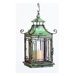 Distressed Blue Pagoda Lantern by The Well Appointed House - A blue pagoda hanging lantern would be a very elegant choice for your outdoor space.