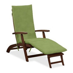 Sunbrella(R) Steamer Single Chaise Cushion, Solid, Peridot - Add the finishing touch to outdoor furniture with our plush, colorful cushions. Designed to be fade resistant, weather resistant, quick to dry and soft to the touch, they're the perfect match for the strength and durability of our Chatham Collection. Click to read an article on {{link path='pages/popups/chatham-care_popup.html' class='popup' width='640' height='700'}}recommended care{{/link}}. Thick, comfortable cushions are available in water-repellent ring-spun polyester canvas or Sunbrella(R) fabric. Machine wash removable slipcover. Spot clean nonremovable slipcover. Sunbrella(R) cushions and slipcovers are special order items which receive delivery in 3-4 weeks. Please click on the shipping tab for shipping and return information. Imported. View our {{link path='pages/popups/fb-outdoor.html' class='popup' width='480' height='300'}}Furniture Brochure{{/link}}.