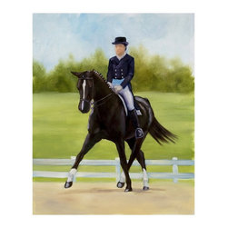 "Trademark Global - Horse of Sport IX by Michelle Moate Reprinted - Giclee on canvas. Ready to Hang Wall Art. Professionally mounted on a lightweight wooden frame. 36 in. W x 48 in. H x 1. 5 in. depthGiclee (jee-clay) is an advanced printmaking process for creating high quality fine art reproductions. The attainable excellence that Giclee printmaking affords makes the reproduction virtually indistinguishable from the original artwork. The result is wide acceptance of Giclee by galleries, museums, and private collectors.Now you can experience all the passion and spirit of Michelle Moate's atmospheric artwork. ""Horse of Sport IX"" will add strength and energy to any home or office decor.Born in Pensacola, Florida in 1970, Ellen King's (now known as Michelle Moate) artistic talent began to reveal itself in the form of drawing at an early age. She studied art and psychology at Wesleyan College in Macon, and later at Oglethorpe University in Atlanta. From there her interests turned toward computer art forms, which led her to attend the Art Institute of Atlanta and the Atlanta College of Art. After studying mostly computer animation, her need to express herself through paint and charcoal intensified. She began painting for the art market in 1997, and before her return to Florida, she gained notoriety within the Atlanta area as a premier local artist. She was also nominated for national recognition through the Academy of Fine Art Foundation's fine arts award program in 2002. She has consistently donated art for various charities, and has attended art shows throughout the southeast, as well as Art Expo New York in 1998, 1999, and 2002.Ellen's work evokes a mood of warmth and passion through the colors of her palette. From horses to wine, her art demonstrates her own personal connection with the subjects. Her overall style is impressionistic, and sometimes a few contemporary mediums are added to enliven the compositions and give them more pizazz. Ellen states: ""I took on the role as artist to appease the desire within my soul, which is to create art that allows me to lose myself in the images, as well as captivate my audience. "" Her success as an artist is attributed to her loyal clients and frequent public appearances. Ellen enjoys speaking with people about her art in local town squares, and in restaurants where she frequently sets up her easel to paint. She says, ""Painting outdoors or on location is a great way to get inspired and share my ability and knowledge of art with others. People love to watch me paint; they are immediately captivated and will express their interest in art or how the image I'm working on effects them. The experience is very rewarding. ""Ellen paints at her home-based studio in Okeechobee, Florida, where she constantly brings new ideas to life."