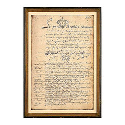 French Chateau Log, Mid 18th Century A Framed Giclee - This faithful reproduction of a grand house's book of records from about the 1760s preserves the weathered and curling edges of the vellum pages, the linear ink stains that mark a much-used document, and the inherent variations in the hand-written French text.  A grandly-scaled initial capital and a stamped feudal seal let you use the French Chateau Log prints to create a similarly lordly impression.