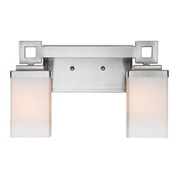Golden Lighting - Nelio 2-Light Vanity - With clean-cut details and a pewter finish, this vanity is quite the visionary. Opal glass evenly diffuses light, splendid for bathroom brilliance — regardless of your view.