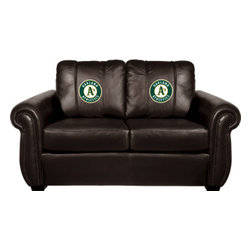 Dreamseat Inc. - Oakland Athletics MLB Chesapeake BROWN Leather Loveseat - Check out this awesome Loveseat. It's the ultimate in traditional styled home leather furniture, and it's one of the coolest things we've ever seen. This is unbelievably comfortable - once you're in it, you won't want to get up. Features a zip-in-zip-out logo panel embroidered with 70,000 stitches. Converts from a solid color to custom-logo furniture in seconds - perfect for a shared or multi-purpose room. Root for several teams? Simply swap the panels out when the seasons change. This is a true statement piece that is perfect for your Man Cave, Game Room, basement or garage.