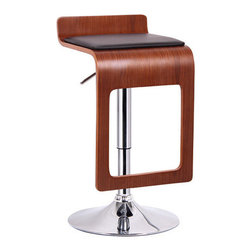 """Wholesale Interiors - Baxton Studio Murl Barstool (Set of 2) - The Murl Modern Bar Chair brings a burst of simple, contemporary style into your home! This modern bar stool features a svelte silhouette with a low-profile backrest, walnut veneered plywood, and foam-padded black faux leather seat cushion. The base and gas piston lift are made of sturdy steel. A plastic protective ring keeps scratches from materializing on your hard flooring. Features: -Baxton Studio collection. -Walnut effect veneer over plywood. -Protective plastic ring on base bottom. -Chrome-plated steel post and base. -Black faux leather seat with polyurethane foam padding. -360 Degree swivel. -Adjustable height. -Clean, wipe with a damp cloth. -Seat dimension: 22.25""""-31.25"""" H x 16.25"""" W x 16.25"""" D."""