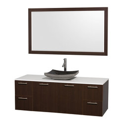 "Wyndham - Amare 60"" Wall Single Vanity Set in Espresso with White Stone Top & Black Granit - Modern clean lines and a truly elegant design aesthetic meet affordability in the Wyndham Collection Amare Vanity. Available with green glass or pure white man-made stone counters, and featuring soft close door hinges and drawer glides, you'll never hear a noisy door again! Meticulously finished with brushed Chrome hardware, the attention to detail on this elegant contemporary vanity is unrivalled.; Constructed of beautiful veneers over the highest grade MDF, engineered for durability, and to prevent warping and last a lifetime; 8-stage preparation, veneering and finishing process; Highly water-resistant low V.O.C. sealed finish; Unique and striking contemporary design; Modern Wall-Mount Design; Deep Doweled Drawers; Fully-extending soft-close drawer slides; Counter options include Green Glass, White Man-Made Stone, and Caesarstone (many colors available); Single-hole faucet mount; Available with Porcelain, Granite, and Marble vessel sink(s); Single-hole faucet mount; Faucet(s) not included; Mirror included; Metal exterior hardware with brushed chrome finish; Two (2) functional doors; Two (4) functional Drawers; Plenty of storage space; Includes drain assemblies and P-traps for easy assembly; Minimal assembly required; Weight: 302 lbs; Dimensions: Vanity: 60""W x 22-1/4""D x 21-1/4""H Sink adds 5 to 5 1/2"" to height; Mirror(s): 71""L x 36""D x 3""H"