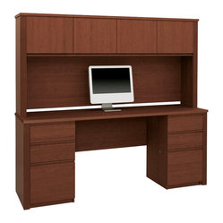 "Bestar - Bestar Prestige + 4-Piece Computer Desk in Cognac Cherry - Bestar - Office Sets - 9985176 - Prestige + Collection features a steadfast value and a traditional design. Ideal for every type of office including home office. Design with durable 1"""" commercial grade work surfaces with melamine finish that resist scratches stains and burns and shock resistant PVC 0.1"""" edge.  The Prestige + Credenza  features efficient wire management with grommets classic ribbed side moldings and a large worksurface. The Prestige + Hutch for Credenza offers a large amount of closed storage space.  The opening measures 11.75"""" tall making them adequate for letter format binders. The doors are fitted with strong adjustable hinges.   The Prestige  Pedestal has two utility drawers and a versatile file drawer that allows for letter- or legal-sized filing.  All drawers are fitted with double extension ball-bearing slides for a smooth utilization and durability.  The pedestal has one lock that secures the two bottom drawers and is fully reversible.  This item meets or exceeds AINSI/BIFMA performance standards.  Also available in Bordeaux and Graphite or Chocolate finishes."