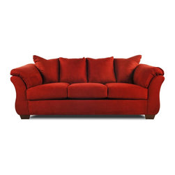 Darcy Salsa Sofa - Curvaceous and courageous, this sofa features a dynamic design that's amplified by a fierce dark red body fabric. A tight back offers the look of loose pillows without the hassle of having to adjust their arrangement, and generously padded arms provide copious cushioning.