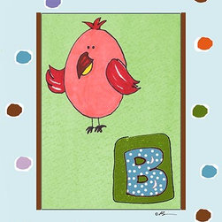 Oh How Cute Kids by Serena Bowman - B is for Bird in Blue, Ready To Hang Canvas Kid's Wall Decor, 11 X 14 - Each kid is unique in his/her own way, so why shouldn't their wall decor be as well! With our extensive selection of canvas wall art for kids, from princesses to spaceships, from cowboys to traveling girls, we'll help you find that perfect piece for your special one.  Or you can fill the entire room with our imaginative art; every canvas is part of a coordinated series, an easy way to provide a complete and unified look for any room.
