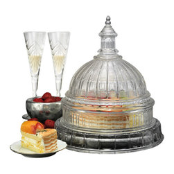 """Godinger Silver - Capital Cake Plate With Dome - Display your cakes with elegance in this impressive Capital cake stand. This as your table centerpiece, will truly make a statement! Serve your favorite cakes in this crystal cake dome and get ready for some compliments. To complete your set, match this with our other crystal pieces from our large collection!   * Dimensions: Height- 14.5"""", Diameter- 12""""."""