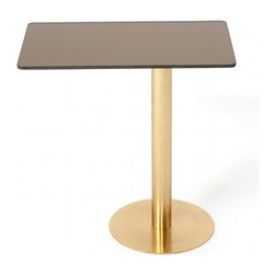 Tom Dixon - Flash Rectangular Table | Tom Dixon - Design by Tom Dixon, 2010.A coffee or side table with a highly reflective surface. The Flash Rectangular table has a mirrored bronze top and a brass plated steel base resulting in an uncompromising metallic surface. Flash is intended as a product in the spirit of the iconic Mirror Ball.
