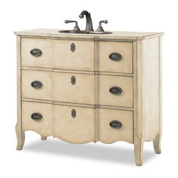 Cole + Co. Designer Series Wayfarer Single Bathroom Vanity Linen - A pale finish and pretty lines make the Cole + Co. Designer Series Wayfarer Single Bathroom Vanity Linen a traditional bathroom's must-have piece. Crafted with durable wood, this classic vanity boasts a scalloped apron, a linen finish with light distressing, and two working storage drawers - each fronted with antique pewter pulls and decorative keyhole accents - that provide space for spare linens and toiletries. This vanity includes a Cole + Co. sink in the Carlisle style in white or biscuit shades. Three pre-drilled faucet holes have an 8-inch spread.About Cole + Co.Cole + Co. has the expertise and knowledge to effortlessly marry functionality with style, taking the painstaking difficulty out of finding extraordinary pieces for the bathroom. Wood solids such as elm, alder and pine are combined with birch, cherry and aspen veneers for a truly custom and unique look. Currently available across the United States and Canada, Cole + Co.'s vanity units and accessories are moderately priced for the architect, home builder, designer and consumer.