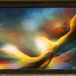 Leonardo Nierman, The Golden Bird, Oil Painting - Artist:  Leonardo Nierman, Mexican (1932 - )