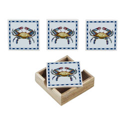 Handcrafted Model Ships - Set of 4 - Ceramic Crab Coasters with Holder - These fun and eclectic decorative ceramic crab coasters bring the beach directly to any setting. Handcrafted by our master artisans, it is the ideal piece for nautical enthusiasts and beach-lovers alike. Available in different styles, let the beach come to you.