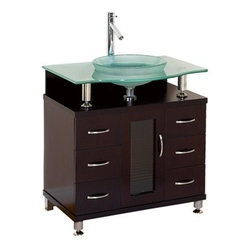 "Modern Bathroom - Charlton 30"" Bathroom Vanity with Drawers - Espresso w/ Clear or Frosted Glass C - The striking lines of the Charlton 30"" Vanity, with drawers, make it the focal point of any modern bathroom. This contemporary vanity has a rich and beautiful Espresso finish, and is the pinnacle of modern bathroom design. The 3/4"" heat-tempered safety glass basin and counter gives the Charlton Vanity a clean and crisp look that makes it a ""must have"" for your contemporary bathroom remodel, ground-up bath build, or double up for a stunning yours/theirs layout. Take your bath from no-place to showplace -- choose Charlton. The Charlton vanity is also available in additional sizes. Features Clear or frosted glass counter Includes drain assembly Faucet not included but available Optional matching mirror Optional side and wall cabinets Fits 30 inch wide space How to handle your counterSpec Sheet for vanity Spec Sheet for Claire Rotating Wall Cabinet with mirror (WC-B802) Spec Sheet for Sarah Storage Cabinet (WC-B803) Spec Sheet for Accara Bathroom Wall Cabinet (WC-B805) Spec Sheet for Maria Bathroom Wall Cabinet (WC-B807) Installation Instructions *Because these items are hand finished, mirror and vanity color shades may vary slightly."