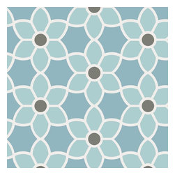 Brewster Home Fashions - Blossom  Blue Geometric Floral Wallpaper Bolt - Paint your room in a fresh blue hue with this geometric wall covering of a modern floral pattern. With exceptionally clean lines and a very dynamic design this soothing print rejuvenates walls in energizing new light.