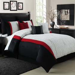 None - Giovanni 9-piece Embroidered Comforter Set - Update bedroom decor with this Giovanni Nine-piece Embroidered Comforter Set. The three-tone comforter blends with any room and the contemporary set includes a comforter, bedskirt, Euro shams, shams and decorative pillows.